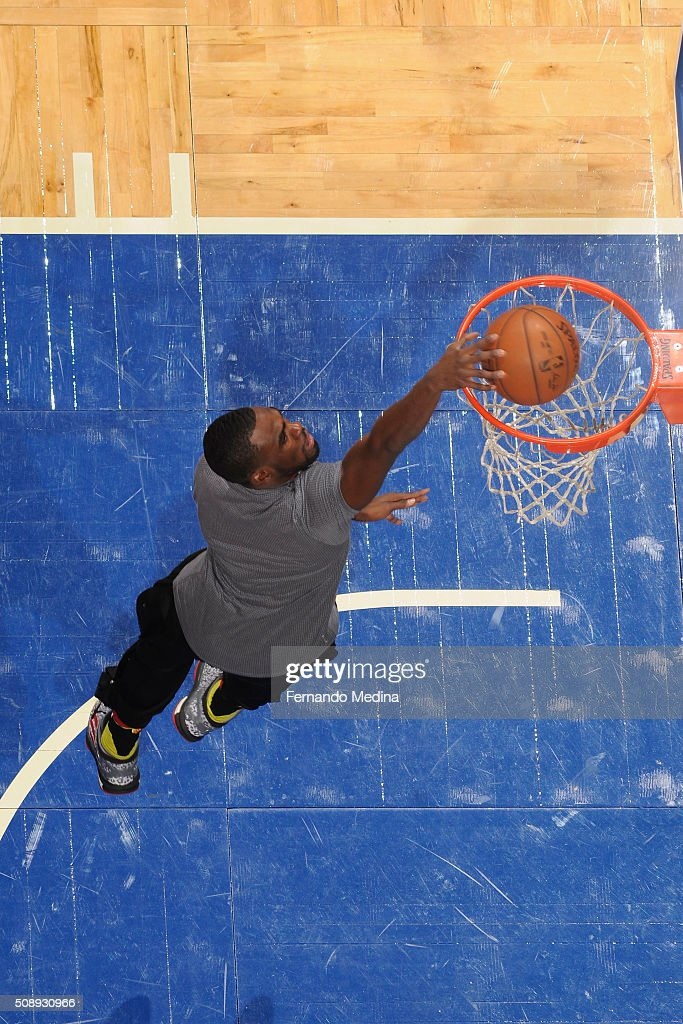 <a gi-track='captionPersonalityLinkClicked' href=/galleries/search?phrase=Shelvin+Mack&family=editorial&specificpeople=5767272 ng-click='$event.stopPropagation()'>Shelvin Mack</a> #8 of the Atlanta Hawks warms up before the game against the Orlando Magic on February 7, 2016 at the Amway Center in Orlando, Florida.