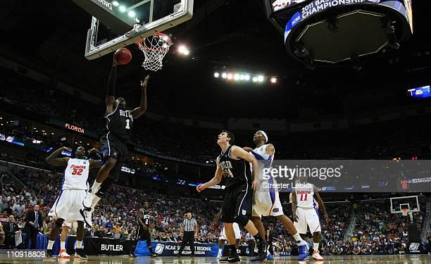 Shelvin Mack of the Butler Bulldogs dunks against the Florida Gators during the Southeast regional final of the 2011 NCAA men's basketball tournament...