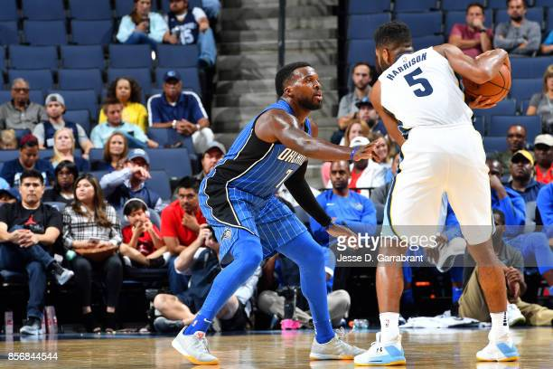 Shelvin Mack of the Orlando Magic plays defense against Andrew Harrison of the Memphis Grizzlies during a preseason game on October 2 2017 at...