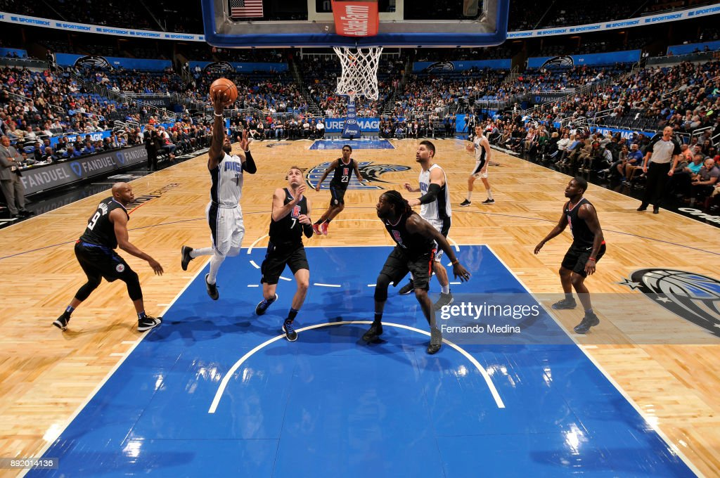 Shelvin Mack #7 of the Orlando Magic shoots the ball against the LA Clippers on December 13, 2017 at Amway Center in Orlando, Florida.