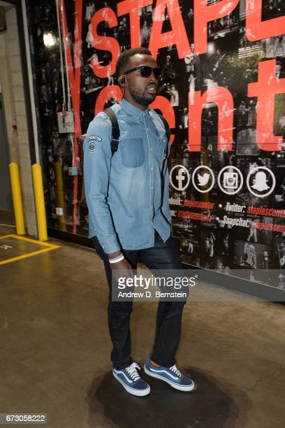 Shelvin Mack of the Utah Jazz arrives before the game against the LA Clippers in Game Five of the Western Conference Quarterfinals of the 2017 NBA...