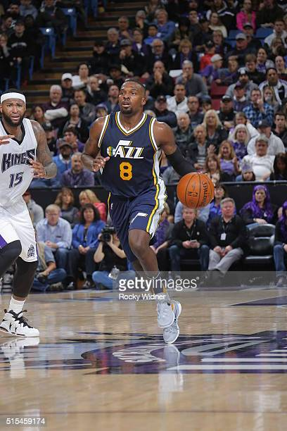 Shelvin Mack of the Utah Jazz brings the ball up court against the Sacramento Kings on March 13 2016 at Sleep Train Arena in Sacramento California...