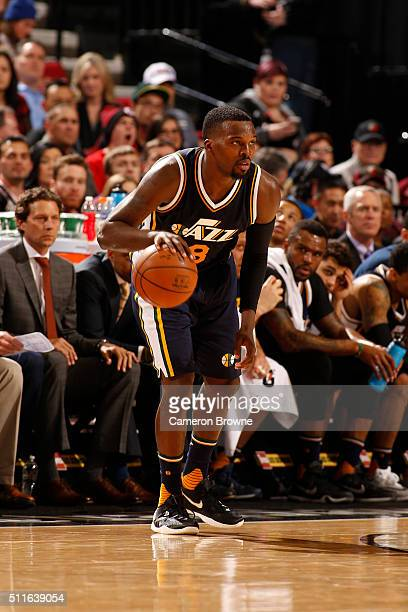 Shelvin Mack of the Utah Jazz dribbles the ball against the Portland Trail Blazers on February 21 2016 at the Moda Center in Portland Oregon NOTE TO...