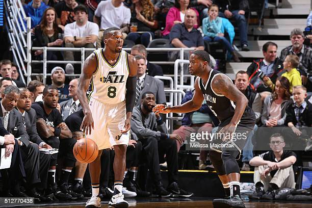 Shelvin Mack of the Utah Jazz drives to the basket against the Brooklyn Nets during the game on February 27 2016 at Vivint Smart Home Arena in Salt...