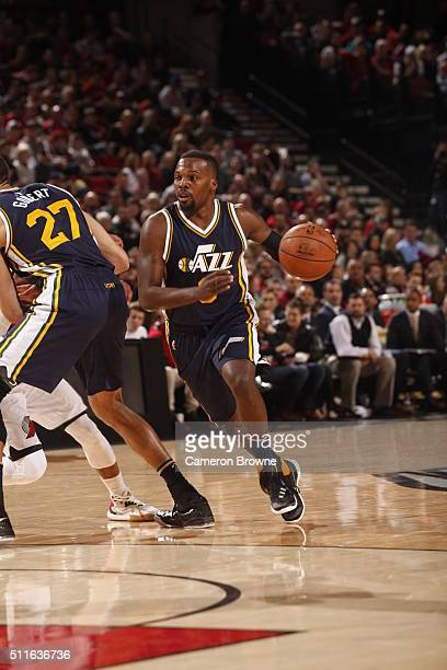 Shelvin Mack of the Utah Jazz drives to the basket against the Portland Trail Blazers on February 21 2016 at the Moda Center in Portland Oregon NOTE...