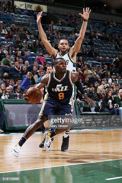 Shelvin Mack of the Utah Jazz handles the ball against the Milwaukee Bucks on March 20 2016 at the BMO Harris Bradley Center in Milwaukee Wisconsin...