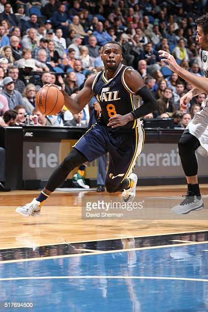 Shelvin Mack of the Utah Jazz handles the ball against the Minnesota Timberwolves on March 26 2016 at Target Center in Minneapolis Minnesota NOTE TO...