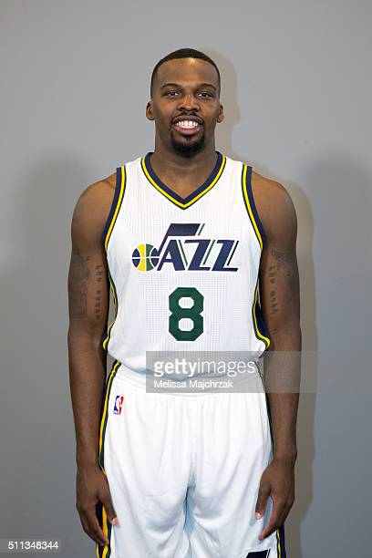Shelvin Mack of the Utah Jazz poses for a photo before the game against the Boston Celtics on February 19 2016 at vivintSmartHome Arena in Salt Lake...