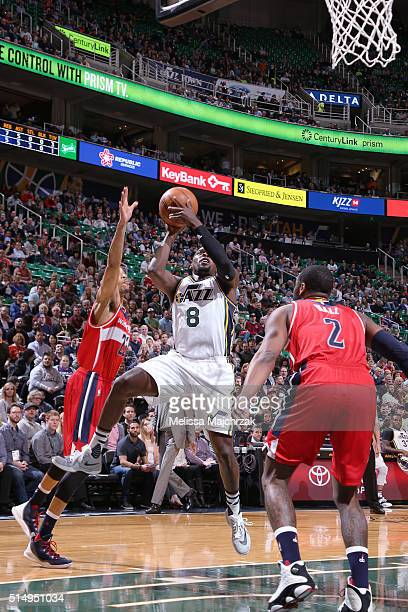 Shelvin Mack of the Utah Jazz shoots the ball against the Washington Wizards on March 10 2016 at vivintSmartHome Arena in Salt Lake City Utah NOTE TO...