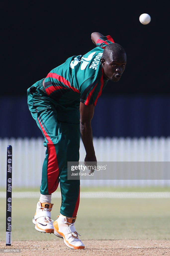 Shem Ngoche of Kenya bowls during an ICC World Cup qualifying match between Namibia and Kenya on January 17, 2014 in Mount Maunganui, New Zealand.