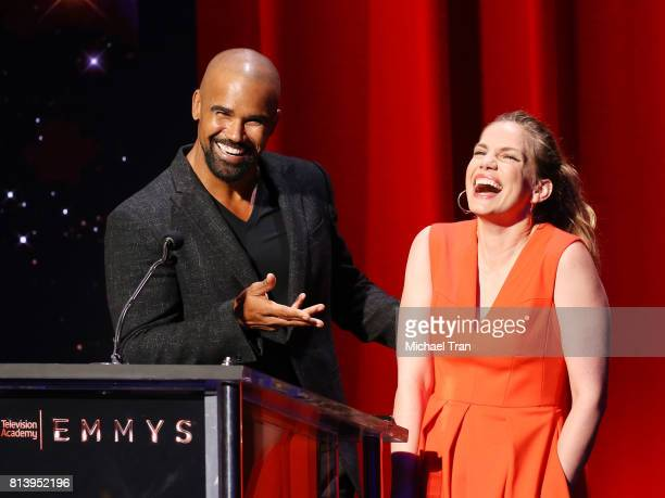 Shemar Moore and Anna Chlumsky speak onstage during the 69th Emmy Awards nominations announcement held at Saban Media Center on July 13 2017 in North...