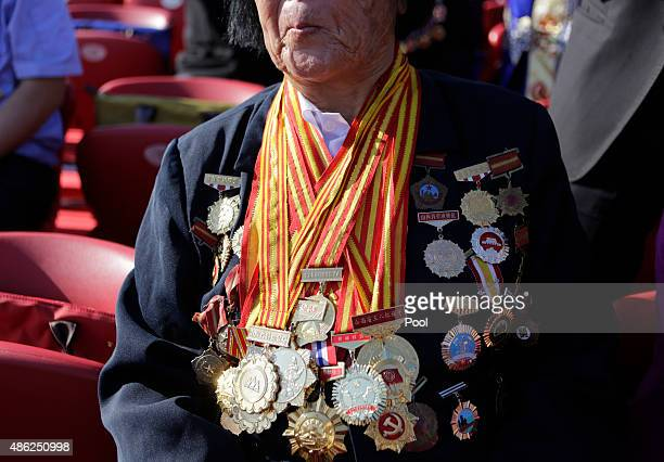 Shen Jilan wearing insignias and medals sits ahead of the military parade to mark the 70th Anniversary of the end of World War Two on September 3...