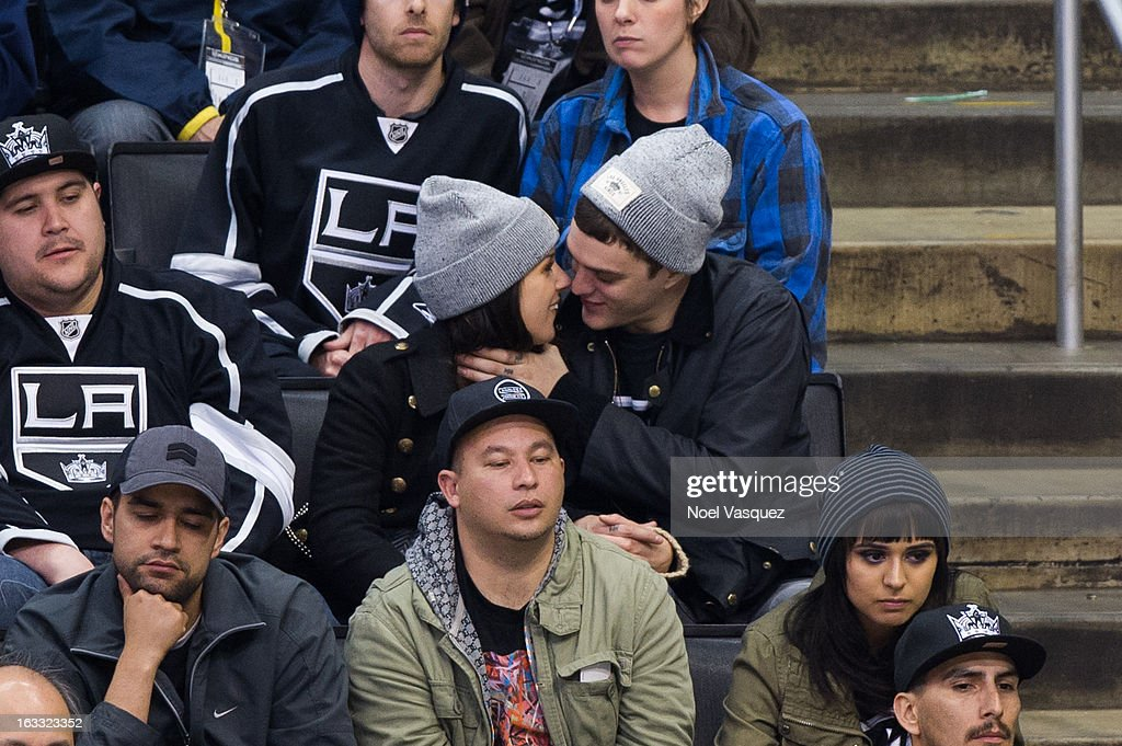 <a gi-track='captionPersonalityLinkClicked' href=/galleries/search?phrase=Shenae+Grimes&family=editorial&specificpeople=2153141 ng-click='$event.stopPropagation()'>Shenae Grimes</a> (L) and Josh Beech attend a hockey game between the Dallas Stars and Los Angeles Kings at Staples Center on March 7, 2013 in Los Angeles, California.