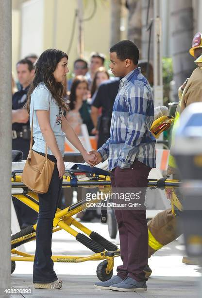 Shenae Grimes and Tristan Wilds are seen on the set of '90210' on March 01 2013 in Los Angeles California