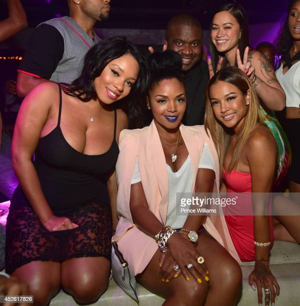 Sheneka Adams Rasheeda Jacob York Karrueche Tran and Sarah Vivan attend the 13th annual birthday party of the Wolf of Black Hollywoodat Prive on July...