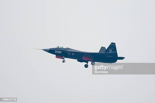 A Shengyang J31 stealth fighter aircraft manufactured by Shenyang Aircraft Corp a unit of Aviation Industry Corp of China performs during the China...