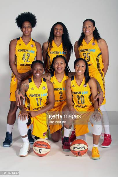 Shenise Johnson Tiffany Mitchell Marissa Coleman Erica Wheeler Erlana Larkins and Briann January pose for a portrait during Media Day at Bankers Life...