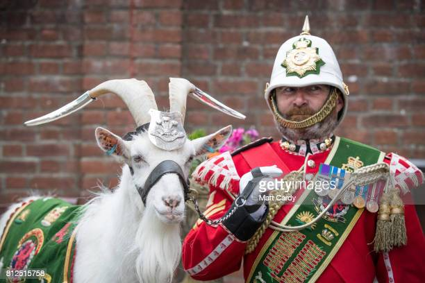 Shenkin the mascot of the Third Battalion Royal Welsh and his handler Sgt Mark Jackson wait for the arrival of Prince Charles the Prince of Wales as...