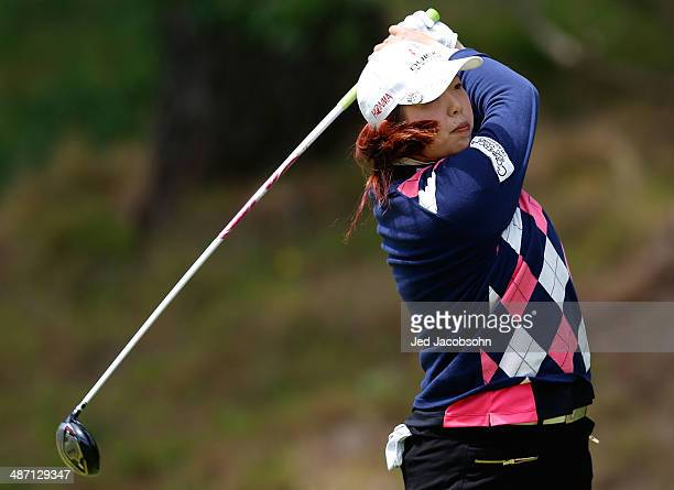 Shenshen Feng of China tees off on 4 during the Final Round of the Swinging Skirts LPGA Classic at the Lake Merced Golf Club on April 27 2014 in San...