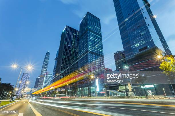 shenzhen city downtown skyline and cityscape at night,china.