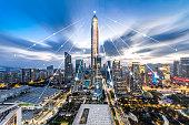 Shenzhen city night scene and technology concept