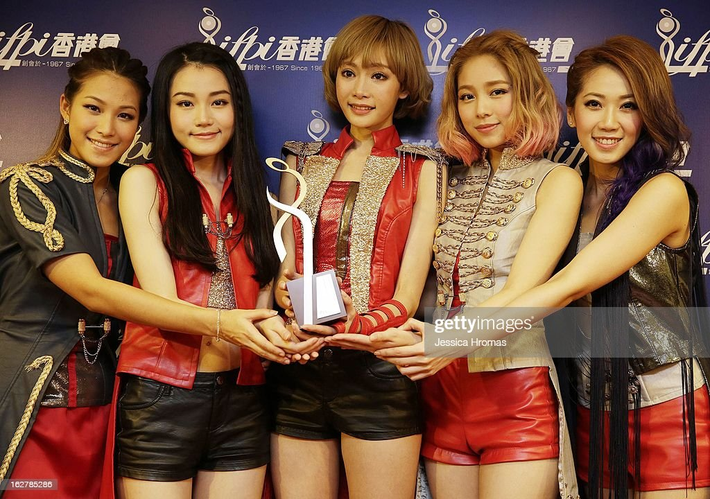 Sheoner, Yanny, Aka, Heidi and Jessica of 'Super Girls' at the 2013 IFPI Hong Kong Top Sales Music Awards at Star Hall on February 26, 2013 in Hong Kong, Hong Kong.