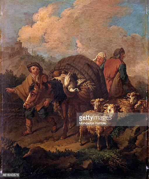 Sheperds Travelling with Donkey and Sheep after Francesco Londonio 18th Century oil on canvas paper Italy Lombardy Milan Castello Sforzesco Civic...