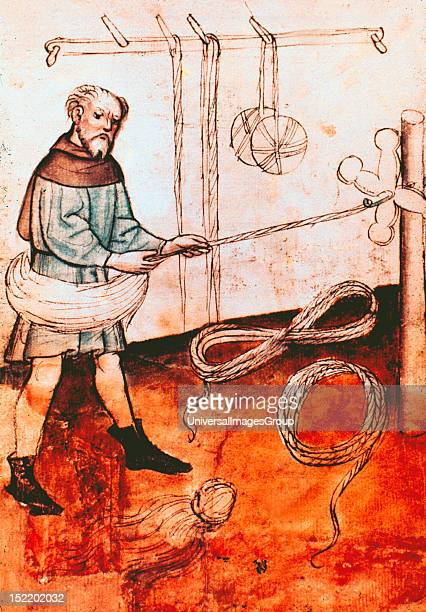 Shepherd spinning wool 15th century