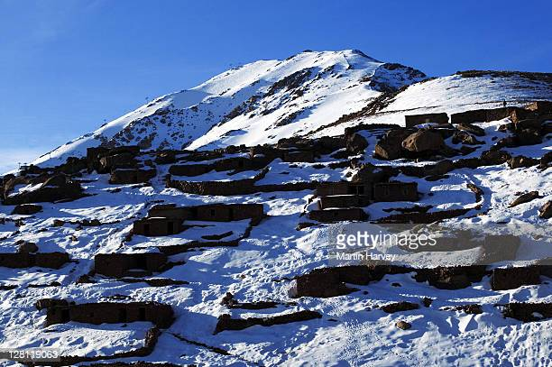 Shepherds stone huts in the Oukaimeden region of the high Atlas mountains, Morocco