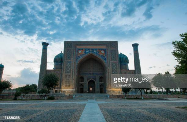 Sher Dor Madrassah at sunrise, Registan, Uzbekistan