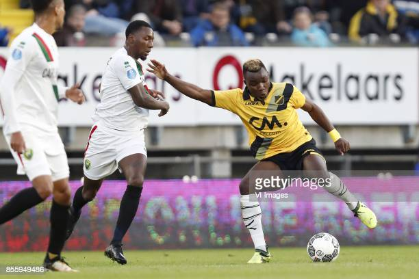 Sheraldo Becker of ADO Den Haag Thierry Ambrose of NAC Breda during the Dutch Eredivisie match between NAC Breda and ADO den Haag at the Rat Verlegh...