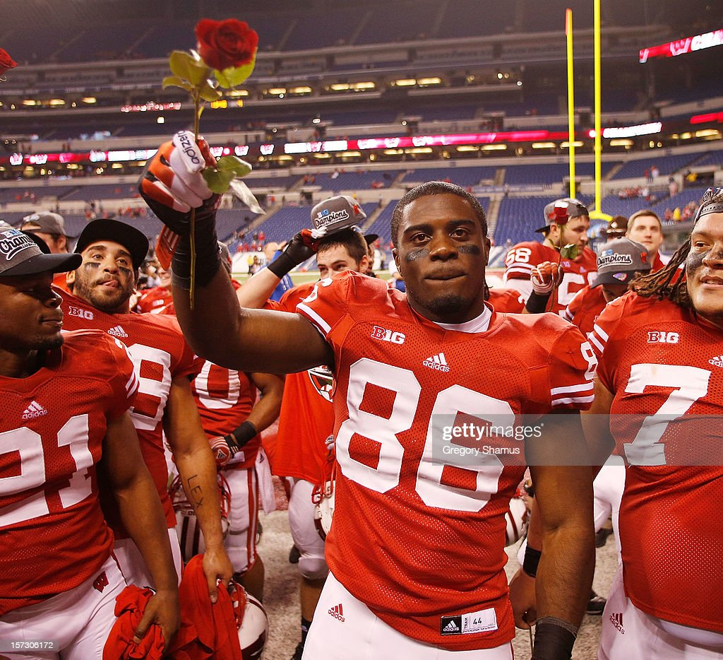 Sherard Cadoga #86 of the Wisconsin Badgers celebrates a 70-31 win over the Nebraska Cornhuskers in the Big 10 Conference Championship Game at Lucas Oil Stadium on December 1, 2012 in Indianapolis, Indiana.
