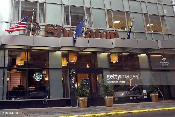 Sheraton Hotel stands in downtown Brooklyn on March 14 2016 in New York City A fight for the Starwood Hotel chain which Sheraton is a member of is...