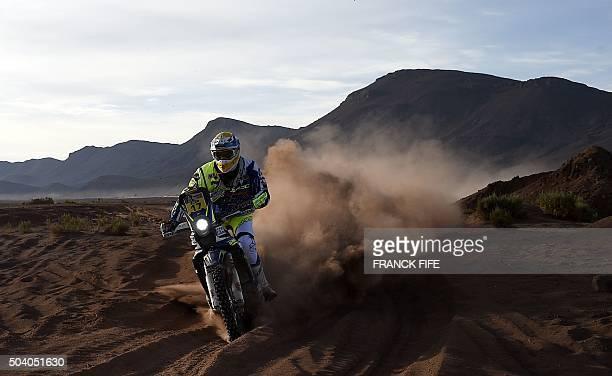 Sherco's Spanish biker Juan Pedrero Garcia competes during Stage 6 of the Dakar 2016 around Uyuni Bolivia on January 8 2016 AFP PHOTO / FRANCK FIFE /...