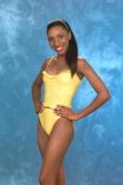 Sherece Shurmain Smith MISS U S VIRGIN ISLANDS 1999 gives us a Sneak Peek of the Oscar de la Renta ''fun'' swimsuit the Official Swimwear Sponsor of...