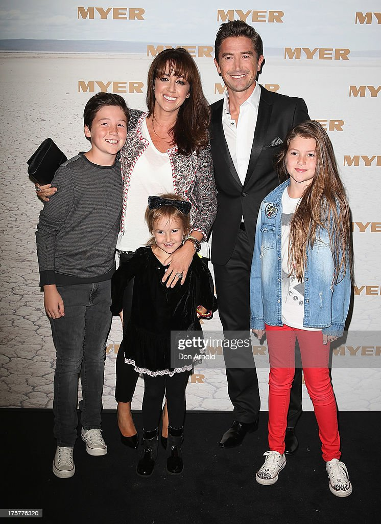 Sheree Murphy poses alongside husbband Harry Kewell and their children at the Myer Spring/Summer 2014 Collections Launch at Fox Studios on August 8, 2013 in Sydney, Australia.