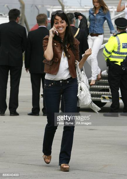 Sheree Murphy wife of Liverpool's Harry Kewell arrives back at John Lennon Airport