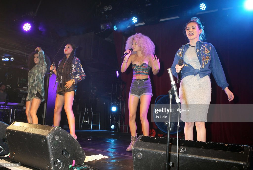 Shereen Cutkelvin, Amira McCarthy, Jess Plummer and Asami Zdrenka of Neon Jungle perform on stage at G-A-Y on August 31, 2013 in London, England.