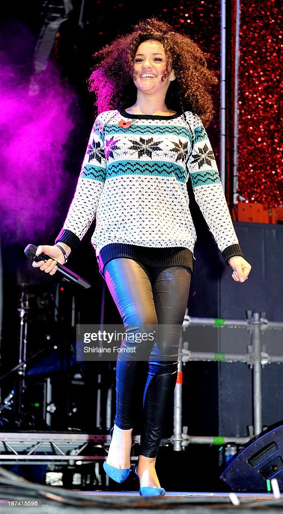 Shereen Cutkelvin of Neon Jungle onstage at the switch on of the Manchester Christmas lights at Albert Square on November 8, 2013 in Manchester, England.