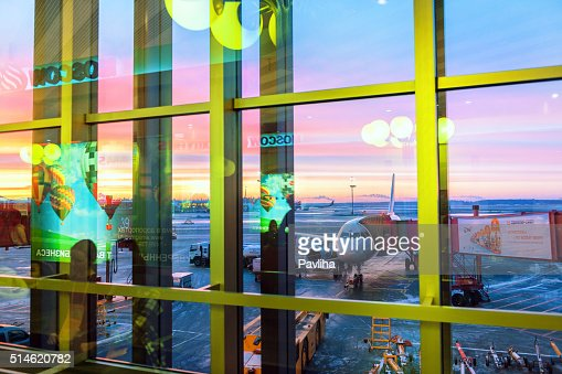 Sheremetyevo International Airport, sunset, reflection, winter, commercials Moscow, Russia.
