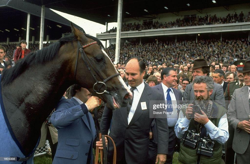 Shergar with Aga Khan after winning the Irish Derby at The Curragh racecourse near Newbridge County Kildare Ireland Mandatory Credit Steve...