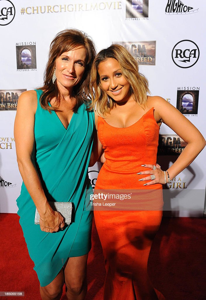 Sheri Brigman and <a gi-track='captionPersonalityLinkClicked' href=/galleries/search?phrase=Adrienne+Bailon&family=editorial&specificpeople=540286 ng-click='$event.stopPropagation()'>Adrienne Bailon</a> attends (R) T-Bone attends the 'I'm In Love With A Church Girl' premiere at California Theatre on October 15, 2013 in San Jose, California.