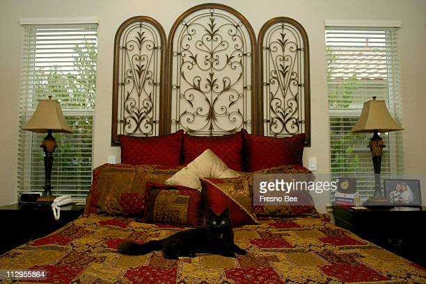 Sheri Provost uses a decorative iron piece as a headboard in her master bedroom in Fresno California February 9 2007