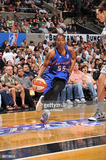 Sheri Sam of the Detroit Shock drives against Ruth Riley of the San Antonio Silver Stars in Game Two of the WNBA Finals on October 3 2008 at ATT...