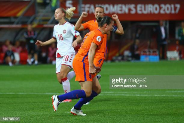 Sherida Spitse bed00 celebrates the first goal during the UEFA Women's Euro 2017 Group A match between Netherlands and Denmark at Sparta Stadion on...