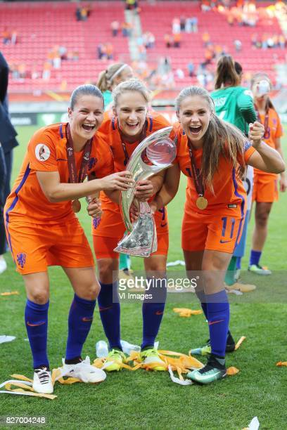 Sherida Spitse of Holland Women Vivianne Miedema of Holland Women Lieke Martens of Holland Women during the UEFA WEURO 2017 final match between The...
