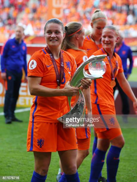 Sherida Spitse of Netherlands Women with the trophy after the UEFA Women's Euro 2017 final match between Denmark and Netherlands at De Grolsch Veste...