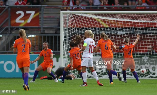 Sherida Spitse of The Netherlands celebrates after scoring the opening goal of the game during the UEFA Women's Euro 2017 Group A match between...