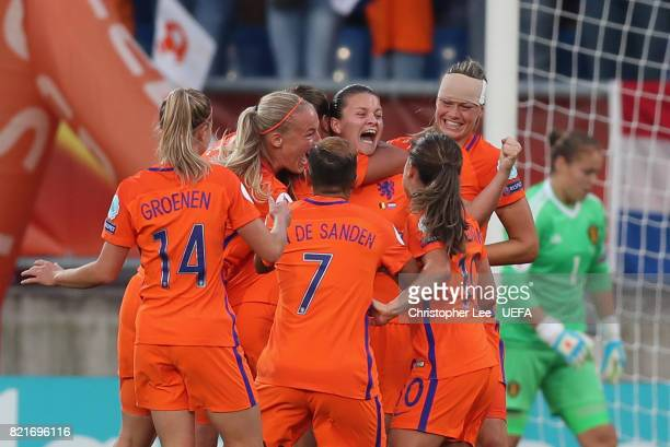 Sherida Spitse of the Netherlands celebrates scoring their first goal during the UEFA Women's Euro 2017 Group A match between Belgium and Netherlands...