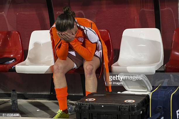 Sherida Spitse of the Netherlands is disappointed during the 2016 UEFA Women's Olympic Qualifying Tournament match between Netherlands and Sweden on...